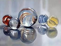 Marbles come in all sizes... not shapes though, different shapes wouldn't be marbles!